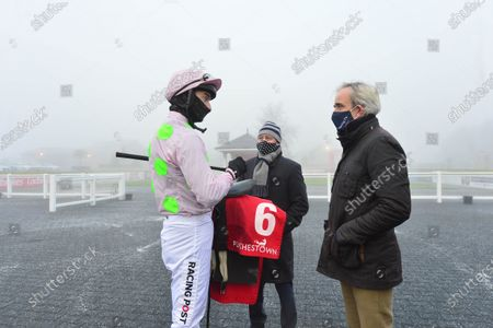 PUNCHESTOWN 6-December-2020. The John Durkan Memorial Chase (Grade 1). MIN winning jockey Patrick Mullins with David Casey and Ruby Walsh after winning for owner Susannah Ricci and trainer Willie Mullins. Healy Racing