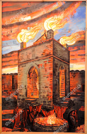 Tair Salakhov: Land of Fire (left part of Triptych) 2007