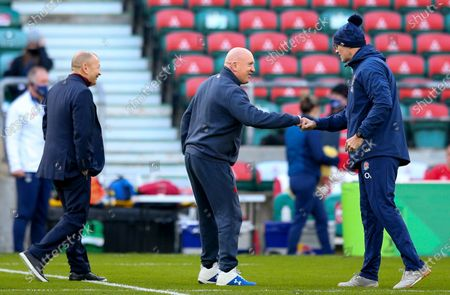 England vs France. England Defence Coach John Mitchell greets Shaun Edwards Defence Coach of France