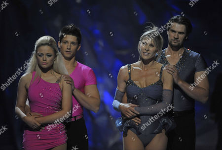 Emily Atack and Fred Palascak with Sharron Davies and Pavel Aubrecht