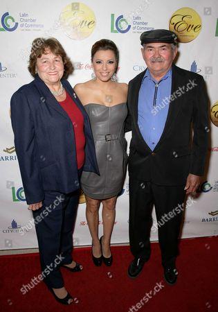 Stock Photo of Eva Longoria Parker and her parents Enrique and Ella Longoria