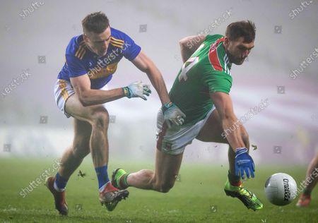 Mayo vs Tipperary. Tipperary's Alan Campbell with Aidan O'Shea of Mayo