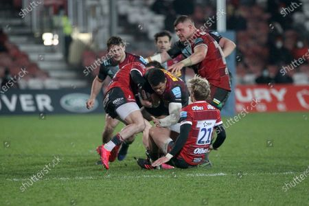 Harlequins Nathan Earle  GLOUCESTER RUGBY'S Will Flinn  during the Gallagher Premiership Rugby match between Gloucester Rugby and Harlequins at the Kingsholm Stadium, Gloucester