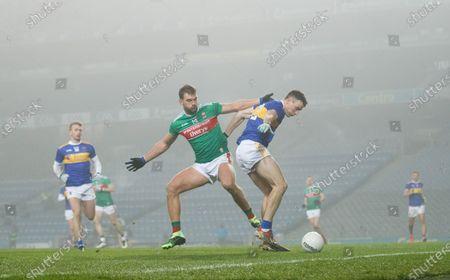 Stock Photo of Mayo vs Tipperary. Mayo's Aidan O'Shea and Alan Campbell of Tipperary