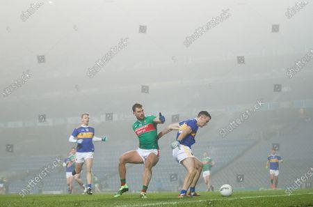 Mayo vs Tipperary. Mayo's Aidan O'Shea and Alan Campbell of Tipperary