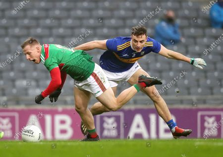 Stock Picture of Mayo vs Tipperary. Mayo's Ryan O'Donoghue is tackled by Alan Campbell of Tipperary