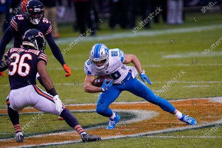 Detroit Lions wide receiver Danny Amendola (80) makes a catch in front off Chicago Bears defensive back DeAndre Houston-Carson (36) in the second half of an NFL football game in Chicago