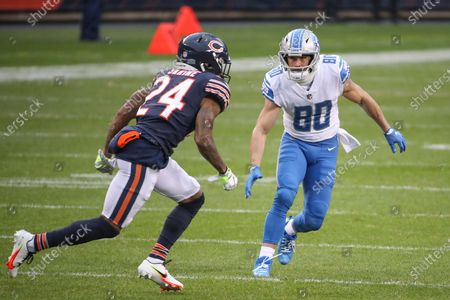 Detroit Lions wide receiver Danny Amendola (80) defends against Chicago Bears cornerback Buster Skrine (24) during the first half of an NFL football game, in Chicago