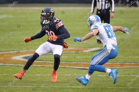Chicago Bears free safety Eddie Jackson (39) is defended by Detroit Lions wide receiver Danny Amendola (80) during the first half of an NFL football game, in Chicago