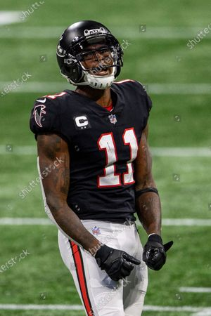 Atlanta Falcons wide receiver Julio Jones (11) reacts during the second half of an NFL football game against the New Orleans Saints, in Atlanta. The New Orleans Saints won 21-16