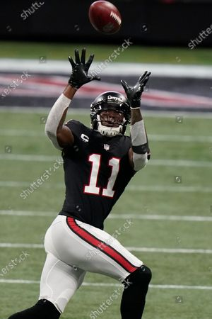 Atlanta Falcons wide receiver Julio Jones (11) works against the New Orleans Saints during the first half of an NFL football game, in Atlanta
