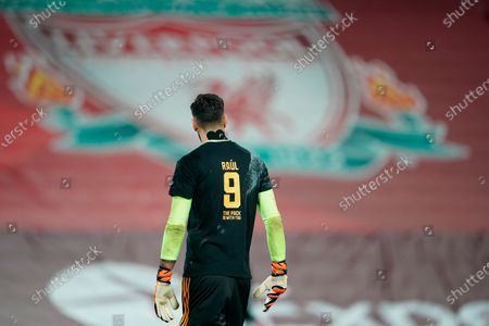 Wolverhampton goalkeeper Rui Patricio wears a number 9 shirt in honour of injured team-mate Raul Jimenez during the warm-up ahead the English Premier League soccer match between Liverpool FC and Wolverhampton Wanderers in Liverpool, Britain, 06 December 2020.
