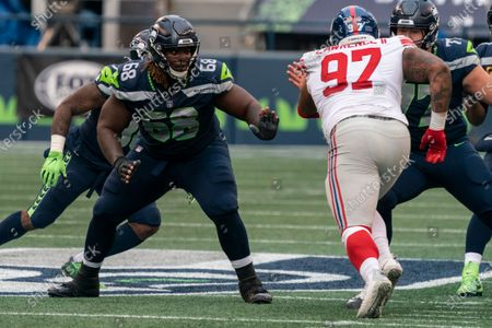 Seattle Seahawks offensive lineman Damien Lewis is pictured during the first half of an NFL football game against the New York Giants, in Seattle. The Giants won 17-12