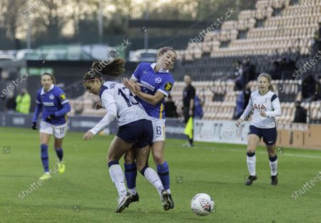 Alex Morgan and Maya Le Tissier battle for the ball during the womens super league game between Tottenham and Brighton at the Hive in London.