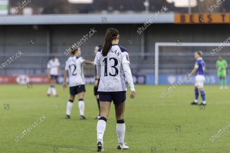Stock Image of Alex Morgan during the womens super league game between Tottenham and Brighton at the Hive in London.