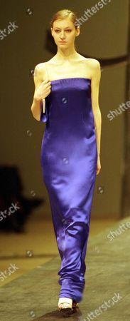 Blue Satin Evening Dress By Albert Elbaz For Yves Saint Laurent Paris Fashions (pret A Porter-autumn/winter ).