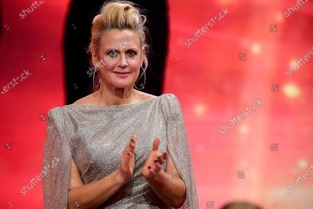 Stock Image of German presenter and singer Barbara Schoeneberger attends the 'Ein Herz Fuer Kinder' (lit: A Heart for Children) gala show in Berlin, Germany, 05 December 2020. German television channel ZDF and newspaper 'Bild' collected donations for children's charity organizations in Germany and the whole world.