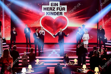 Presenter Johannes Baptist Kerner (C) hosts the 'Ein Herz Fuer Kinder' (lit: A Heart for Children) gala show in Berlin, Germany, 05 December 2020. German television channel ZDF and newspaper 'Bild' collected donations for children's charity organizations in Germany and the whole world.