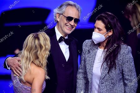 German singer Helene Fischer (L) and Italian opera singer Andrea Bocelli (C) attend the 'Ein Herz Fuer Kinder' (lit: A Heart for Children) gala show in Berlin, Germany, 05 December 2020. German television channel ZDF and newspaper 'Bild' collected donations for children's charity organizations in Germany and the whole world.