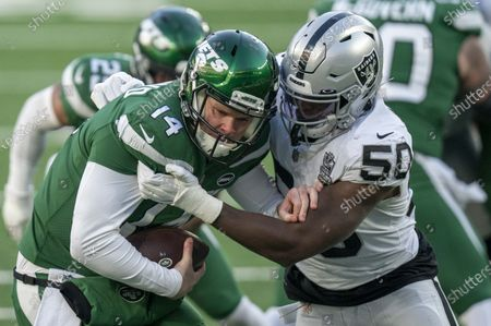 , 2020, New York Jets quarterback Sam Darnold (14) gets sacked by Las Vegas Raiders outside linebacker Nicholas Morrow (50) during the NFL game between the Las Vegas Raiders and the New York Jets at MetLife Stadium in East Rutherford, New Jersey