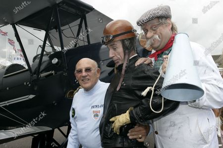 2007 Goodwood Revival Press Day.  Goodwood, West Sussex. 18th July 2007.  Sir Stirling Moss,  with George Formby. World Copyright: Gary Hawkins/LAT Photographic.  Ref: Digital Image Only.