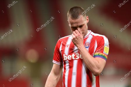 Ryan Shawcross of Stoke City shows a look of dejection as he leaves the field.