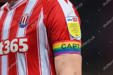The rainbow laces captains armband and skybet sleeve patch on the arm of Ryan Shawcross of Stoke City