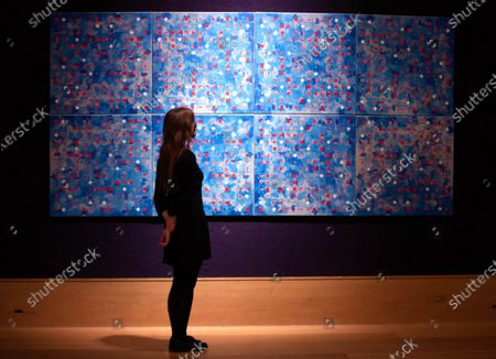 'Blue Computergram' 1981 by Brian Clarke, estimated at £120,000-180,000