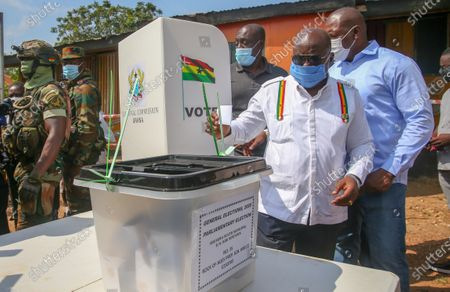 President Nana Akufo Addo casts his vote during presidential and parliamentary elections in Kyebi, Ghana, 07 December 2020. National Democratic Congress candidate John Dramani Mahama and ex-President and New Patriotic Party candidate Nana Akufo Addo are the two presidential front-runners among a dozen candidates in the Ghanaian presidential election.