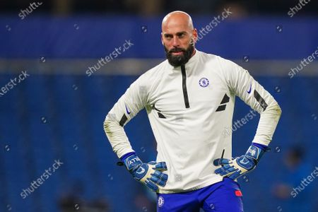 Goalkeeper Willy Caballero of Chelsea warms up before kick-off