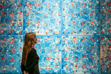 BRIAN CLARKE. Blue Computergram, 1981, It has an estimate of £120,000 - 180,000 at the Bonhams Modern & Contemporary art sale