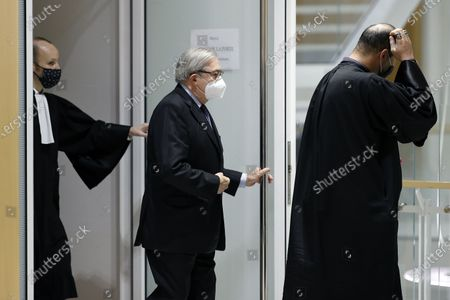French attorney Gilbert Azibert leaves the court during his trial in Paris, France, 07 December 2020. In 2013, Nicolas Sarkozy used a false name to make phone calls to his lawyer Thierry Herzog about the pending decision of the Court of Cassation regarding the seizure of presidential diaries in a separate case. The trial is due to run from 23 November to 10 December 2020.