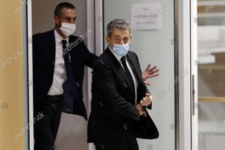 Former French president Nicolas Sarkozy exits the courtroom during his trial on corruption charges in the so-called 'wiretapping affair' in Paris, France, 07 December 2020. In 2013, Nicolas Sarkozy was using a false name, Paul Bismuth, to make phone calls to call his lawyer, Thierry Herzog, about the decision that the Court of Cassation was about to take regarding the seizure of presidential diaries in a separate case. The trial is due to run from 23 November to 10 December.