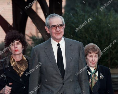 Stock Photo of Dennis Norden Attending Frank Muir's Funeral In Thorpe Surrey