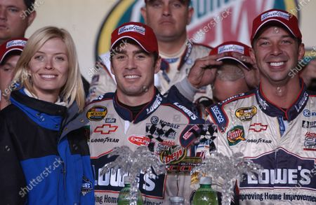 12-14 November, Darlington Raceway, South Carolina USA, 2004 Chandra Janway Joins Jimmie Johnson and Chad Knauss at the podium Copyright-Robt LeSieur 2004 USA LAT Photographic