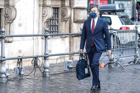 Italian Minister of European Affairs, Vincenzo Amendola arrives at Palazzo Chigi to attend the Council of Ministers in Rome.
