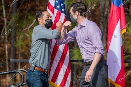 Democratic Georgia US Senate candidate Jon Ossoff (R) campaigns with former US Housing and Urban Development Secretary Julian Castro (L) at Plaza Las Americas in Lilburn, Georgia, USA, 07 December 2020. The pair was urging Latino voter participation on the last Georgia citizens can register to vote for the runoff election. Ossoff is running against Republican Senator David Perdue in a 05 January 2021 runoff election.