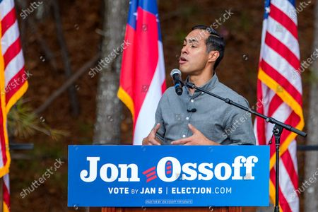 Former US Housing and Urban Development Secretary Julian Castro campaigns on behalf of Democratic Georgia US Senate candidate Jon Ossoff at Plaza Las Americas in Lilburn, Georgia, USA, 07 December 2020. The pair was urging Latino voter participation on the last Georgia citizens can register to vote for the runoff election. Ossoff is running against Republican Senator David Perdue in a 05 January 2021 runoff election.