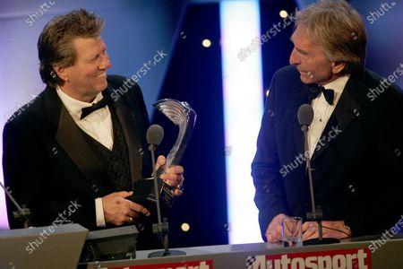 2005 Autosport Awards Grosvenor House, London. 4th December. John Force receives a John Bolster Award from Derek Bell. World Copyright: Malcolm Griffiths/LAT Photographic