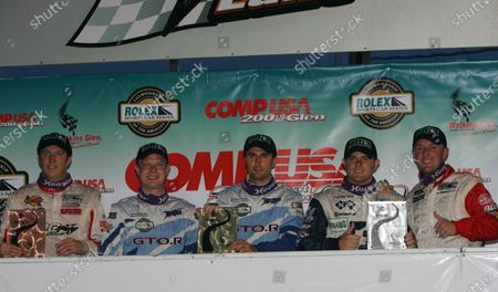 Stock Picture of 11-12 August, 2005, Watkins Glen, New York, USA Overall top three winners in GT class: 1st: Paul Edwards and Jan Magnussen, 2nd: Justin Marks and Joey Hand and 3rd: Spencer Pumpelly and John Littlefield. C: 2005, Denis L. Tanney, USA LAT Photographic