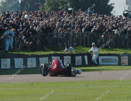 2005 Goodwood Revival Meeting Goodwood, West Sussex. 16th - 18th September 2005 Goodwood Trophy. Willie Green (Maserati 4CLT) the car continues over his legs. World Copyright: Jeff Bloxham/LAT Photographic Digital Image Only