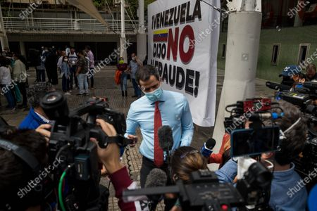 The head of the Venezuelan opposition, Juan Guaido, offers statements to journalists in Caracas, Venezuela, 07 December 2020. Guaido accused the former president of the Spanish Government Jose Luis Rodriguez Zapatero of being an 'accomplice in the violation of human rights' for 'relativizing' the Venezuelan crisis, by positioning himself on the side of Chavismo, indicated by various international organizations of the commission of crimes and other crimes. The former president of the Spanish Government participated as an observer of the legislative elections held on 06 December in Venezuela in which the opposition led by Guaido did not participate, and asked the European Union (EU) to reflect on its position regarding Venezuela.