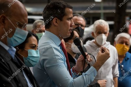 Stock Photo of The head of the Venezuelan opposition, Juan Guaido, offers statements to journalists in Caracas, Venezuela, 07 December 2020. Guaido accused the former president of the Spanish Government Jose Luis Rodriguez Zapatero of being an 'accomplice in the violation of human rights' for 'relativizing' the Venezuelan crisis, by positioning himself on the side of Chavismo, indicated by various international organizations of the commission of crimes and other crimes. The former president of the Spanish Government participated as an observer of the legislative elections held on 06 December in Venezuela in which the opposition led by Guaido did not participate, and asked the European Union (EU) to reflect on its position regarding Venezuela.