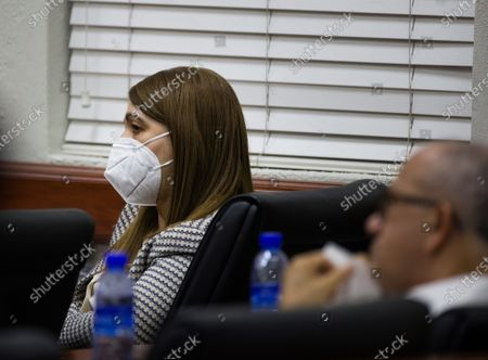 Carmen Magalys Medina, sister of former Dominican President Danilo Medina (2012-2020), attends a hearing as accused on the case of an alleged corruption structure of the previous government that would have managed to steal 81 million dollars from the public treasury, in Santo Domingo, Dominican Republic, 07 December 2020. A week earlier, the Prosecutor's Office launched an operation against officials of the previous government and state suppliers, which led to the arrest of ten people, including two brothers of former President Danilo Medina; Juan Alexis Medina and Carmen Magalys Medina.