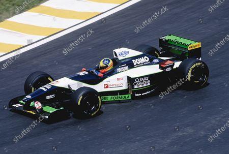1996 Brazilian Grand Prix. Interlagos, Sao Paulo, Brazil.  29-31 March 1996. Tarso Marques (Minardi M195B Ford). Ref-96 BRA 26. World Copyright - Martyn Elford/LAT Photographic