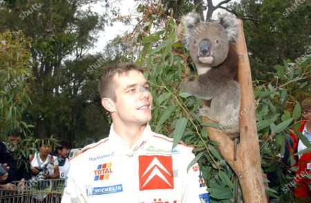 Stock Picture of 2002 World Rally Championship. Telstra Rally Australia, Perth. October 31st-November 3rd. Sebastien Loeb meets a Koala. Photo: Ralph Hardwick/LAT