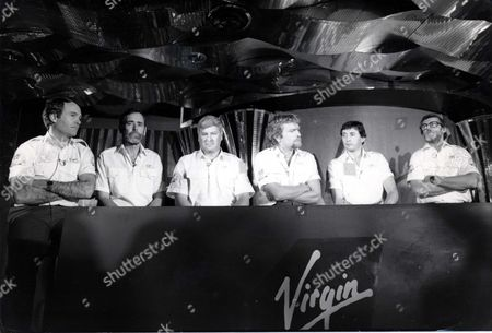 Richard Branson Businessman. At The Launch Of Richard Branson's Second Attempt At Hte Blue Riband Are The Crew (left To Right) Peter Mccann Dag Pike Chay Blyth Richard Branson Steve Ridgway And Peter Downie.