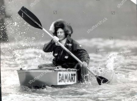 Stock Picture of Sir Ranulph Fiennes 1989 Sir Ranulph Fiennes Explorer Getting A Smooth Trial Run On The Thames In His Sledge Canoe The Man Known As The World's Greatest Living Explorer Spoke Today Of His Latest Bid To Do What No Man Has Done Before. His Latest Challenge Is To Walk Without Any Outside Support To The North Pole. He And Adventurer Dr Mike Stroud 34 Will Set Off From Siberia In March On Their Trek Which They Said Would Take Them About 55 Days. Dr Stroud Said They Would Be Walking About 900 Miles At The Rate Of Almost A Marathon Distance A Day. Explorer Pkt2307 - 158326
