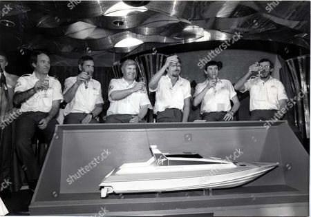 Richard Branson Businessman At The Launch Of Richard Branson's Second Attempt At Hte Blue Riband Are The Crew (lef To Right) Peter Mccann Dag Pike Chay Blyth Richard Branson Steve Ridgway And Peter Downie.