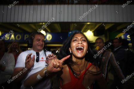 Interlagos, Sao Paulo, Brazil 2nd November 2008 Nicole Sherzinger, girlfriend of Lewis Hamilton, celebrates his world championship. Portrait.   World Copyright: Steven Tee/LAT Photographic
